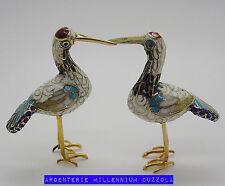 CLOISONNE UCCELLO GRU MINIATURA UCCELLINI VINTAGE CLOISONNE' LITTLE CRANE BIRDS