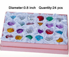 Set of 24 Colorful Diamond 20mm Paper Weight Wedding Crystal Cut Glass XMAS Gift