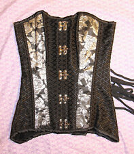 Gothic Lolita Victorian Black White Roses Large Hook Underbust Corset S