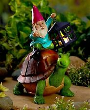 Cute Colorful Garden Gnome Statue Exploring the Garden Riding on a Turtle