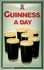 GUINNESS,/ GUINNESS A DAY, EMBOSSED METAL ADVERTISING SIGN 30X20 CM, IRISH BAR