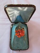Antique Coral and Gold Brooch Pin in Original Fitted Box Needs Repair