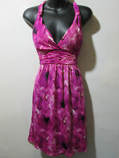Dress Fits M L XL Sundress Pink Black Geo Print Empire Waist Racer Back NWT G165