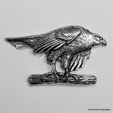Poised Hawk Eagle Pewter Pin Brooch - British Handcrafted - Falconry Hunting