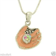 W Swarovski Crystal Baseball Softball Glove Baseball Ball New Pendant Necklace