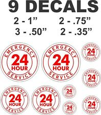 9 Red 24 Hour Emergency Service Vinyl Decals
