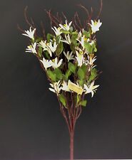 "Artificial Silk Spring Blossom Flower Bush. White & Green. 20"" Tall."