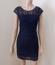 NWT Hollister Womens Floral Lace Mini Dress Size 3 Small Fitted Navy Blue