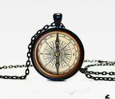 New Compass Charm Glass Dome Cabochon Black Chain Necklace Pendant