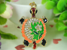 T Green Turtle Keyring Rhinestone Crystal Charm Key Women Bag Chain Pendant Gift