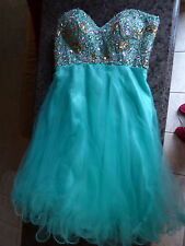 Teal Beaded Green Women's Size Small by Dollar Party Cocktail Prom Dance Dress