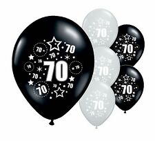 "24 x 70TH BIRTHDAY BLACK AND SILVER 11"" HELIUM OR AIRFILL BALLOONS (PA)"