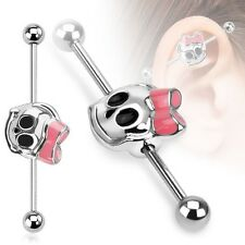 Pink Ribbon SKULL Industrial Bar Scaffold Ear Barbells Rings PIERCING JEWELRY