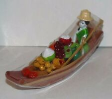 Wooden Boat Fruit Market Rowing Model Handmade Decorative Chinese Asian
