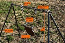 """Steel Pipe Shooting Target Stand With 1/2"""" AR500 Pipe Holders & 12"""" Gong"""