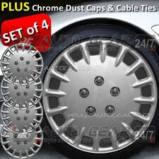 "15"" inch Car Silver Wheel Trims Hub Cap Covers + Free 8 Cable Ties & 4 Dust Caps"