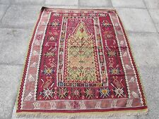 Fine Antique Hand Made Turkish Red Green Purple Wool Kilim Narrow Rug 162x138cm