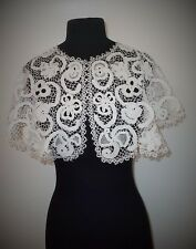 BEAUTIFUL FRENCH HAND MADE ANTIQUE BATTENBURG TAPE LACE CAPELET OR COLLAR
