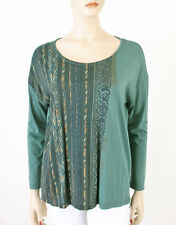 Peruvian Connection Tee Printed Top Green Long Sleeves M 8210 TR