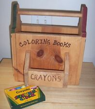Wood Primitive Art Magazine Book Storage Rack Coloring Book Holder Chalk Crayons