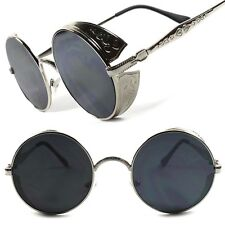 Silver Side Shield Vintage Retro Vampire Goth Steampunk Style Round Sun Glasses