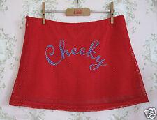 Rare! TRAFFIC PEOPLE Vtg Cheerleader Fishnet Lace Mesh Mini Skirt Red Blue M/L