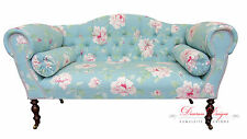 Gorgeous Duck Egg Blue Spring Rose Double Ended Chaise Sofa