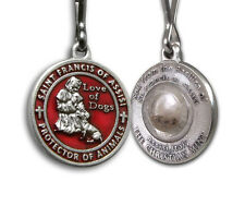 St Francis Red Enamel Pet Medal for Dogs with Assisi Soil - Christian medals