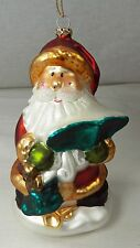 """Hand Blown Glass SANTA CLAUS Christmas Ornament in Wood Crate Storage Box 6"""""""
