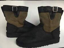 Uggs kids boots size 4 big boy shoes black leather canvas
