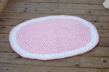 hand crochet throw rug pink white baby nursery girls bedroom shabby cottage chic