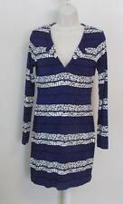 Diane von Furstenberg Reina Arrow Bands Purple tunic dress 12 black white tribal