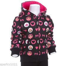 Paul Frank Little Girl's Hearts and Bow Zip Front Hoodie Sweatshirt Size 4 NWT