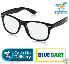 Retro classic black wayfarer with clear UV400 Protected lens