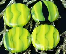 Large Olive Green Striped Black Czech Flat Round Coin Glass Beads Marine Focal P