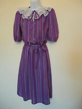 VINTAGE 1980s 80s PURPLE MAGENTA STRIPED SPOTTED RETRO BOHO DRESS SIZE 8-10