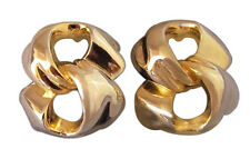 Givenchy Vintage Pierced Statement Earrings Gold Modernist Designer Jewelry 60