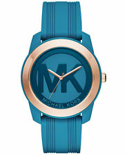 BNEW MICHAEL KORS Women's Preston Turquoise Silicone Strap Watch 43mm MK2559
