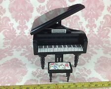 Dollhouse Miniature Furniture Wood Black Grand Piano w/ Stool Chair 1:12