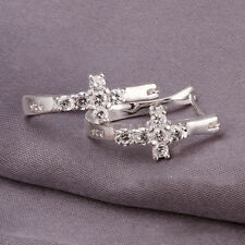 Women Silver Plated Elegant Clear Crystal Cross U Style Cross Hoop Stud Earrings