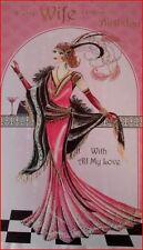 Art Decó década de 1920 ~ para mi esposa en tu cumpleaños con todo mi amor ~ Tarjeta de felicitación