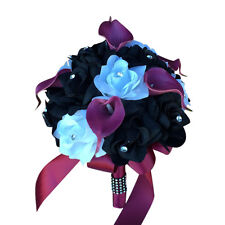 """9"""" Bouquet-burgundy Black White,artificial rose,real touch feel calla lily"""