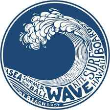 "Wave Kite Surfing Hawaii Bumper Sticker 5"" x 5"""