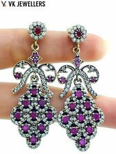 STERLING 925 SILVER TURKISH HANDMADE JEWELRY RUBY ANTIQUE STYLE EARRINGS E2914