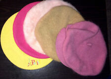 Set of FIVE (5) Women's FRENCH BERET Caps Kangol PINK/YELLOW/TAN 1 Sz Wool CUTE!