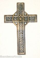 NEW~Cast Iron Cross with Gold Metallic Highlights~Christian Wall Hanging Decor