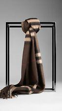 NWT BURBERRY Men's Giant Check 100% Cashmere Scarf Muffler Dark Chestnut Brown
