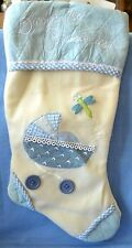 "NEW CHRISTMAS STOCKING BLUE BABY MY First 16"" Long BABY'S SOFT Buttons Butterfly"