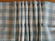 NEW Curtains in Laura Ashley DUCK EGG BLUE Gingham BLACKOUT THERMAL  bedroom 54""