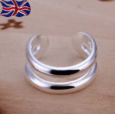 925 Sterling Silver Double Ring Thumb Finger Band Rings Gift UK